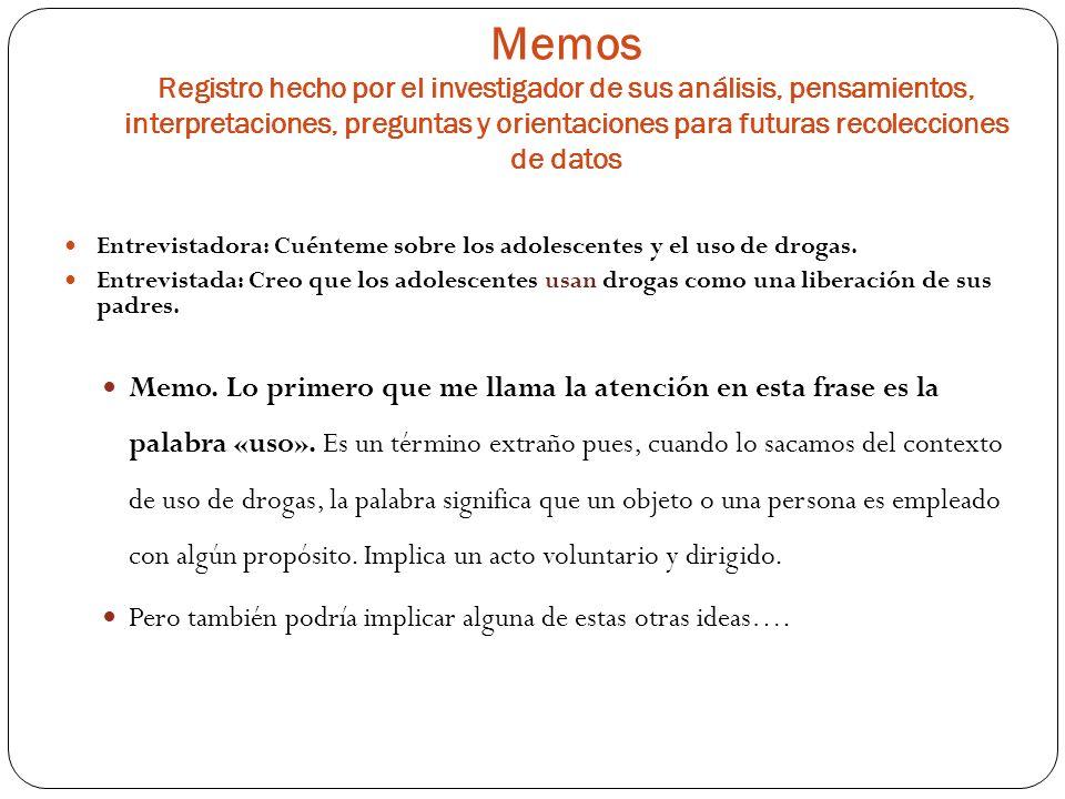 Memos Registro hecho por el investigador de sus análisis, pensamientos, interpretaciones, preguntas y orientaciones para futuras recolecciones de datos