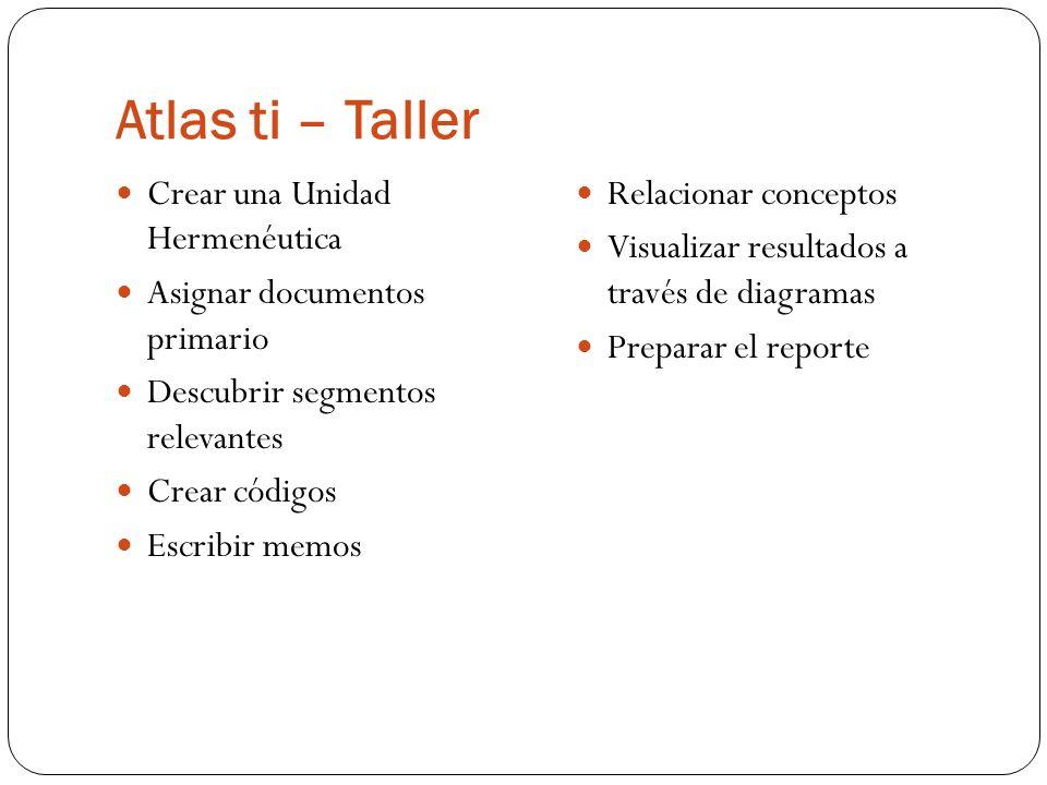 Atlas ti – Taller Crear una Unidad Hermenéutica