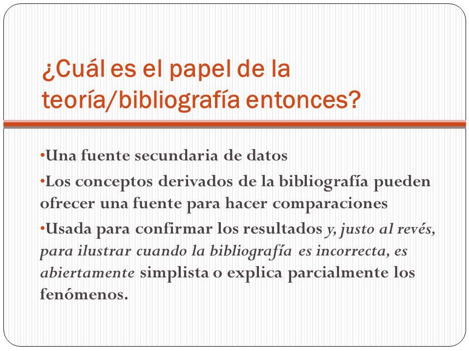 ¿Cuál es el papel de la teoría/bibliografía entonces