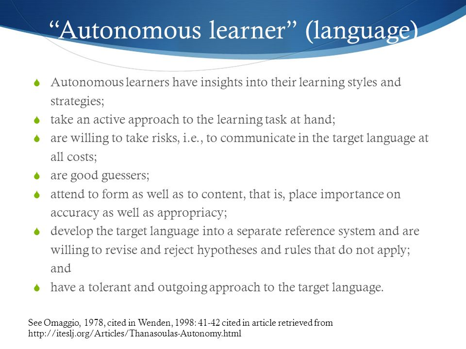 Autonomous learner (language)