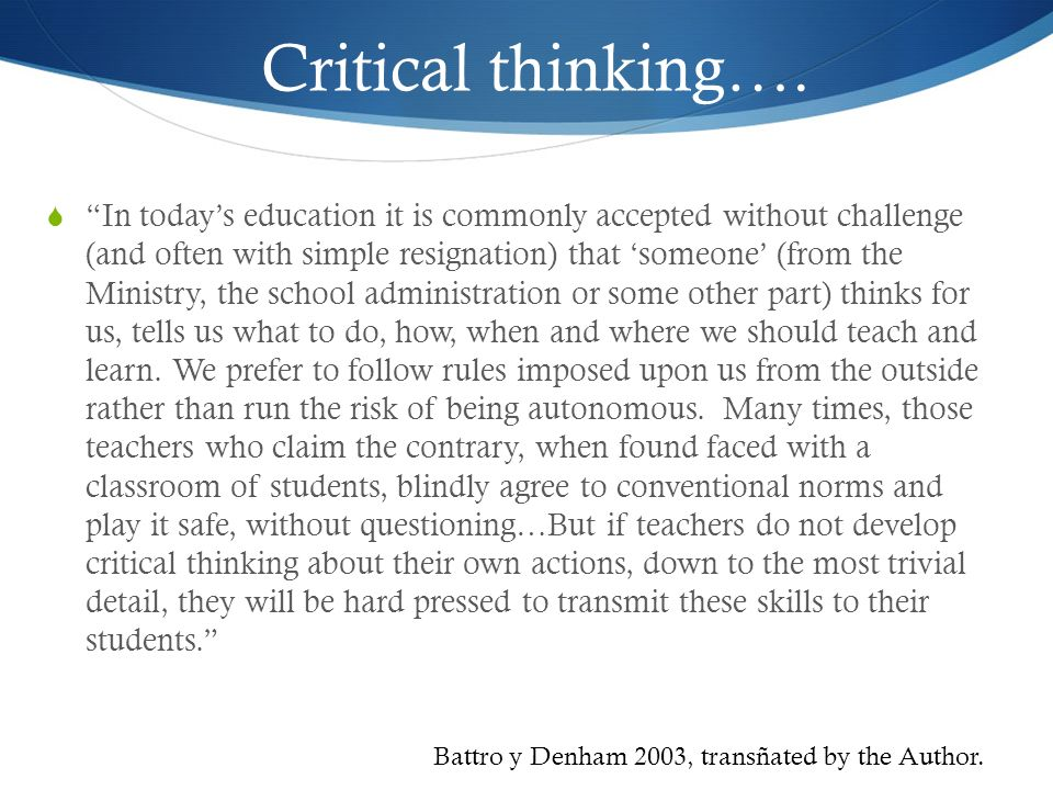 Critical thinking….