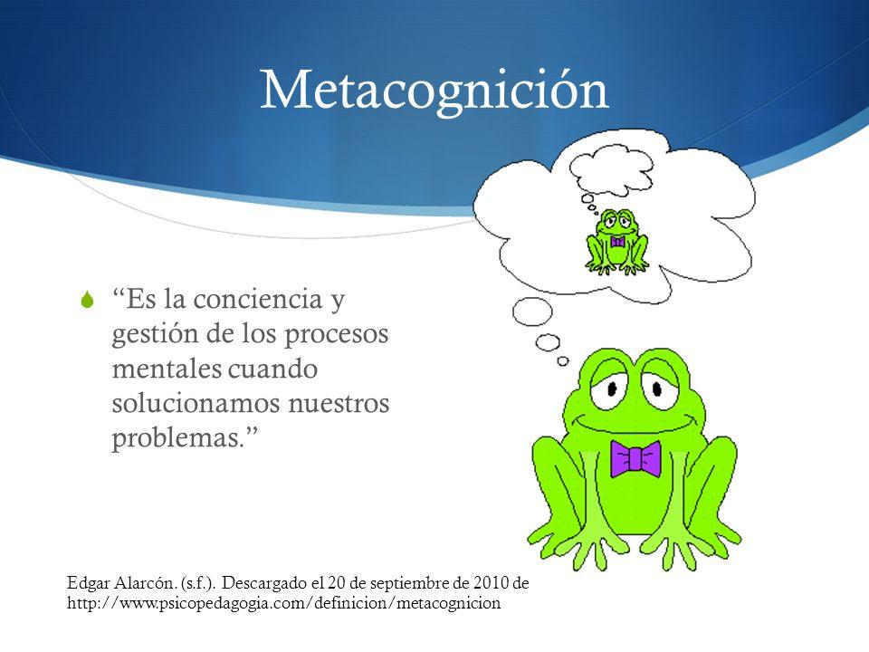 Metacognición Es la conciencia y gestión de los procesos mentales cuando solucionamos nuestros problemas.