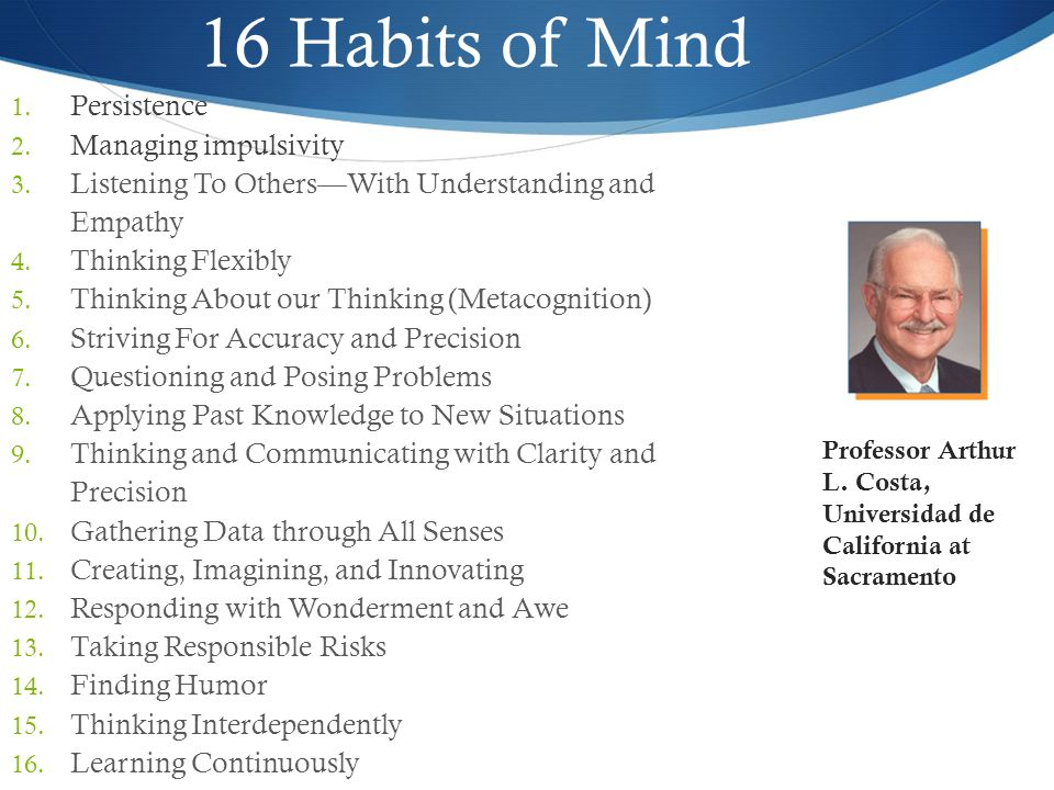 16 Habits of Mind Persistence Managing impulsivity