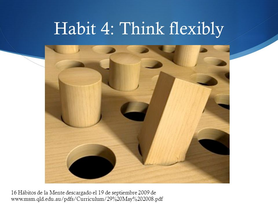 Habit 4: Think flexibly 16 Hábitos de la Mente descargado el 19 de septiembre 2009 de www.msm.qld.edu.au/pdfs/Curriculum/29%20May%202008.pdf.