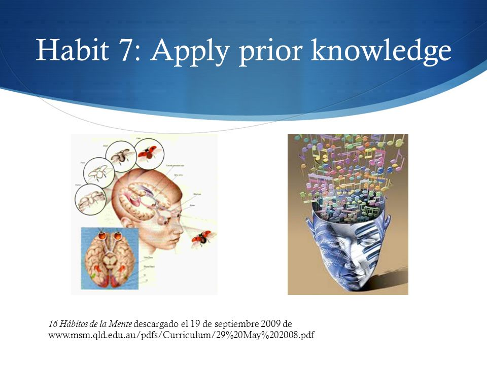 Habit 7: Apply prior knowledge