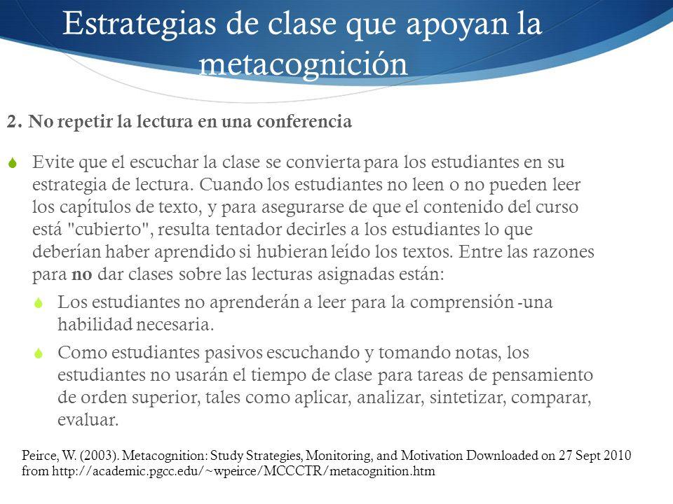 Estrategias de clase que apoyan la metacognición