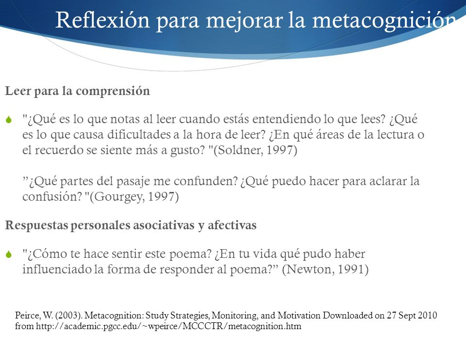 Reflexión para mejorar la metacognición