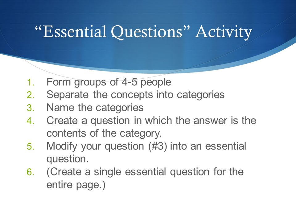 Essential Questions Activity
