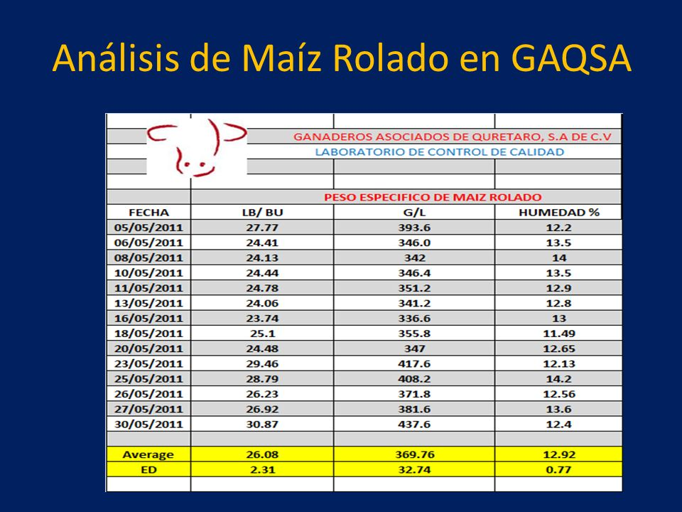 Análisis de Maíz Rolado en GAQSA