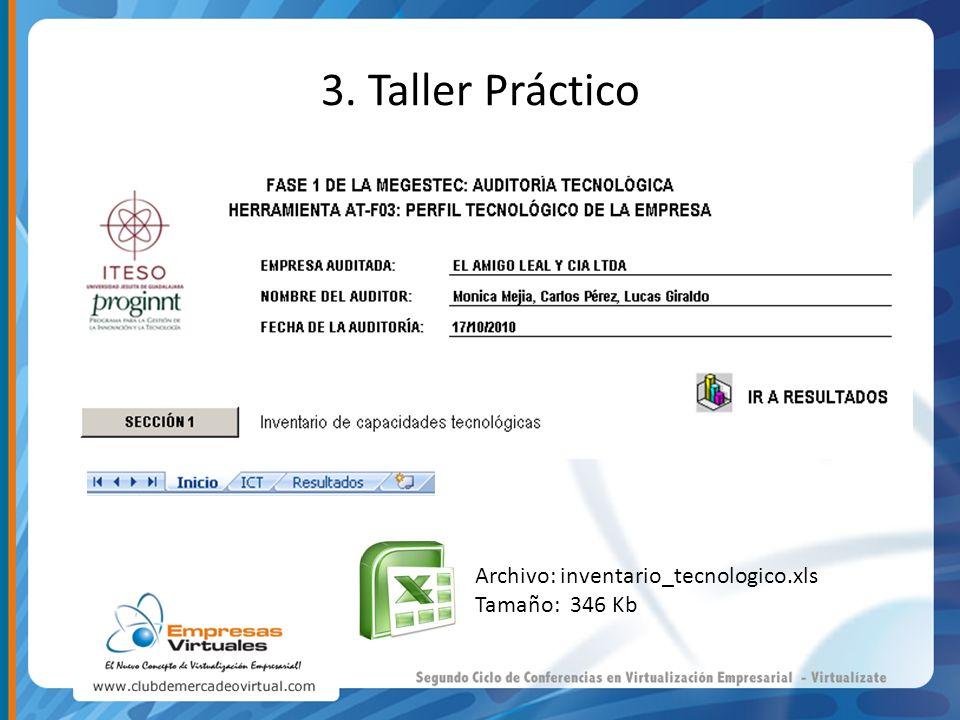 3. Taller Práctico Archivo: inventario_tecnologico.xls Tamaño: 346 Kb