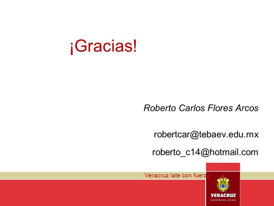 ¡Gracias! Roberto Carlos Flores Arcos robertcar@tebaev.edu.mx roberto_c14@hotmail.com