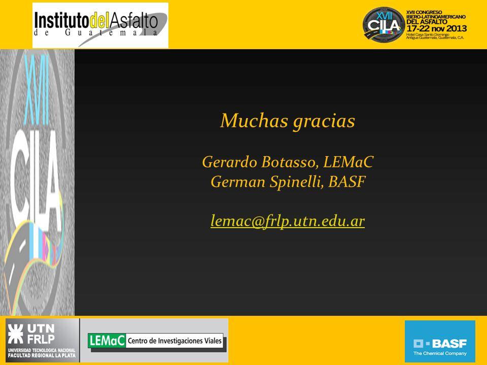 Muchas gracias Gerardo Botasso, LEMaC German Spinelli, BASF