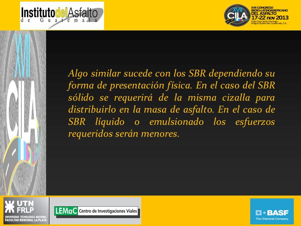 Algo similar sucede con los SBR dependiendo su forma de presentación física.