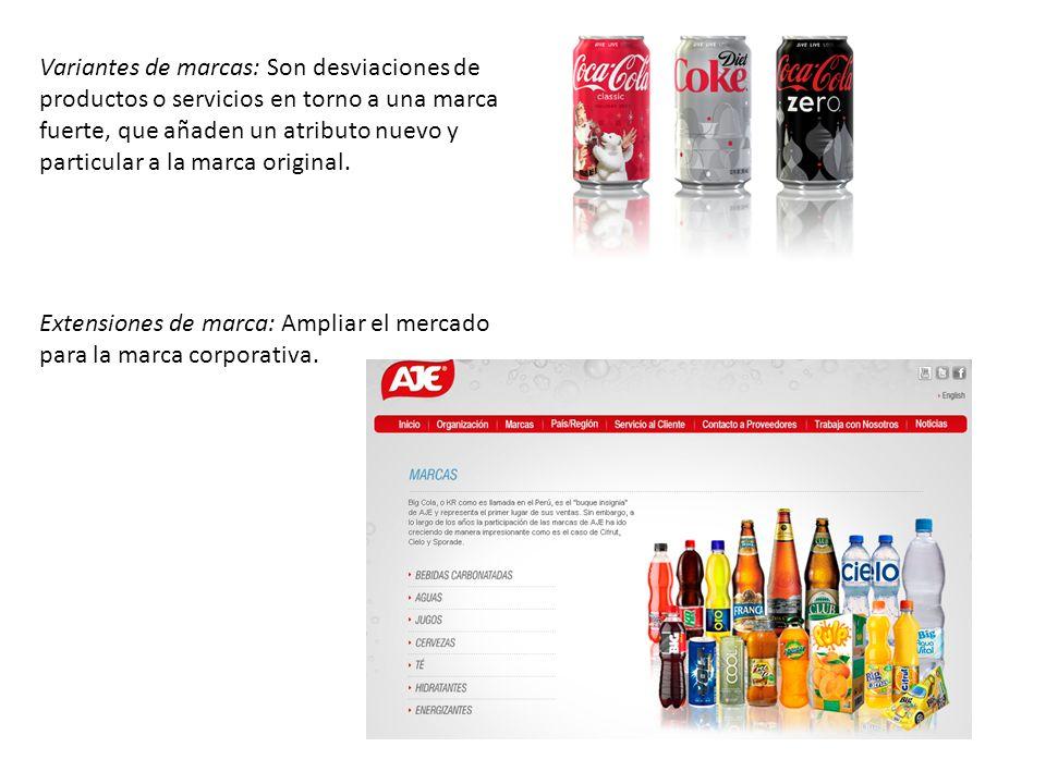 Variantes de marcas: Son desviaciones de productos o servicios en torno a una marca fuerte, que añaden un atributo nuevo y particular a la marca original.