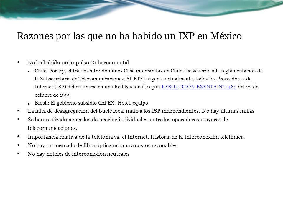 Razones por las que no ha habido un IXP en México