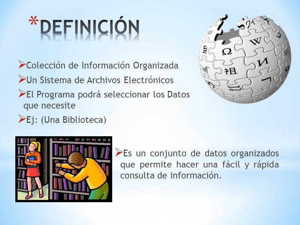 DEFINICIÓN Colección de Información Organizada