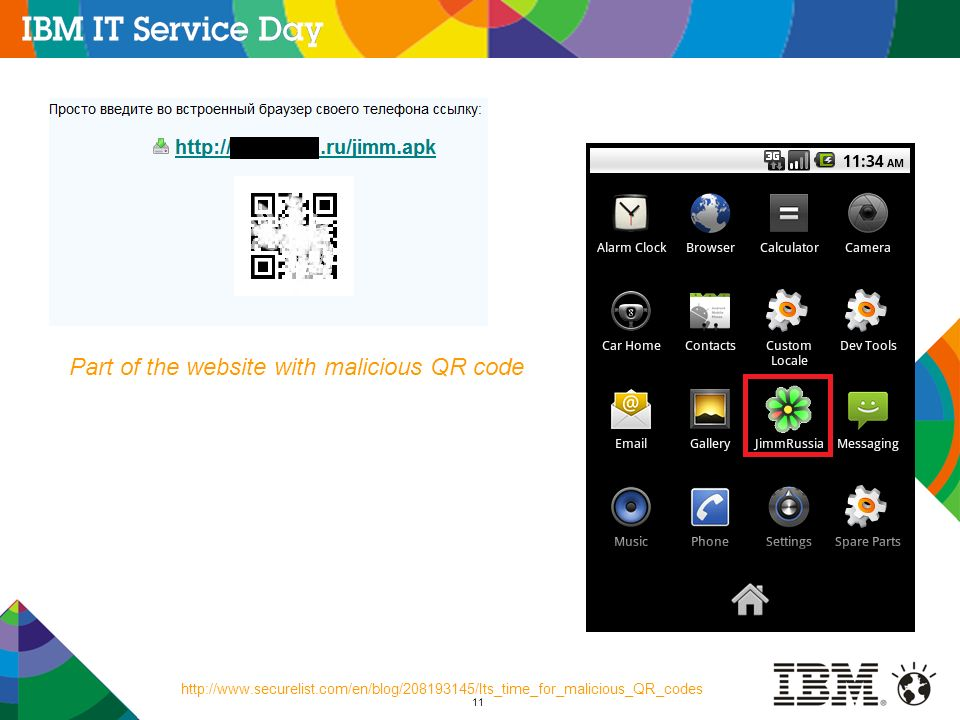 Part of the website with malicious QR code