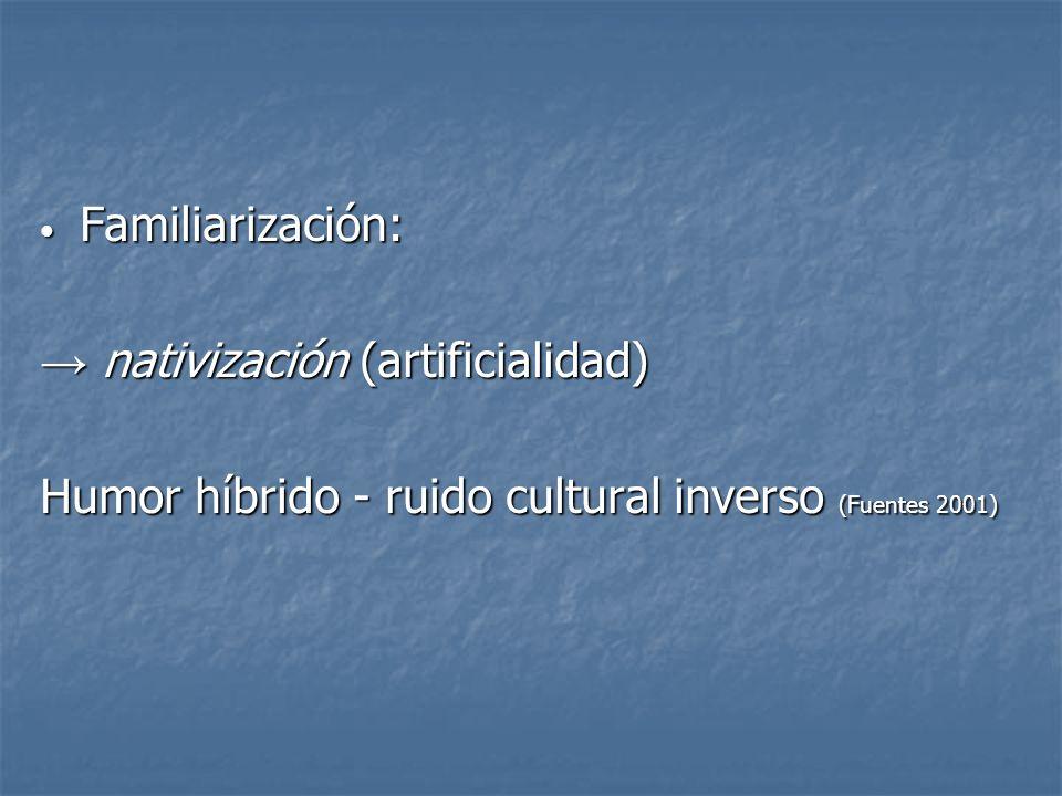 Familiarización: → nativización (artificialidad) Humor híbrido - ruido cultural inverso (Fuentes 2001)
