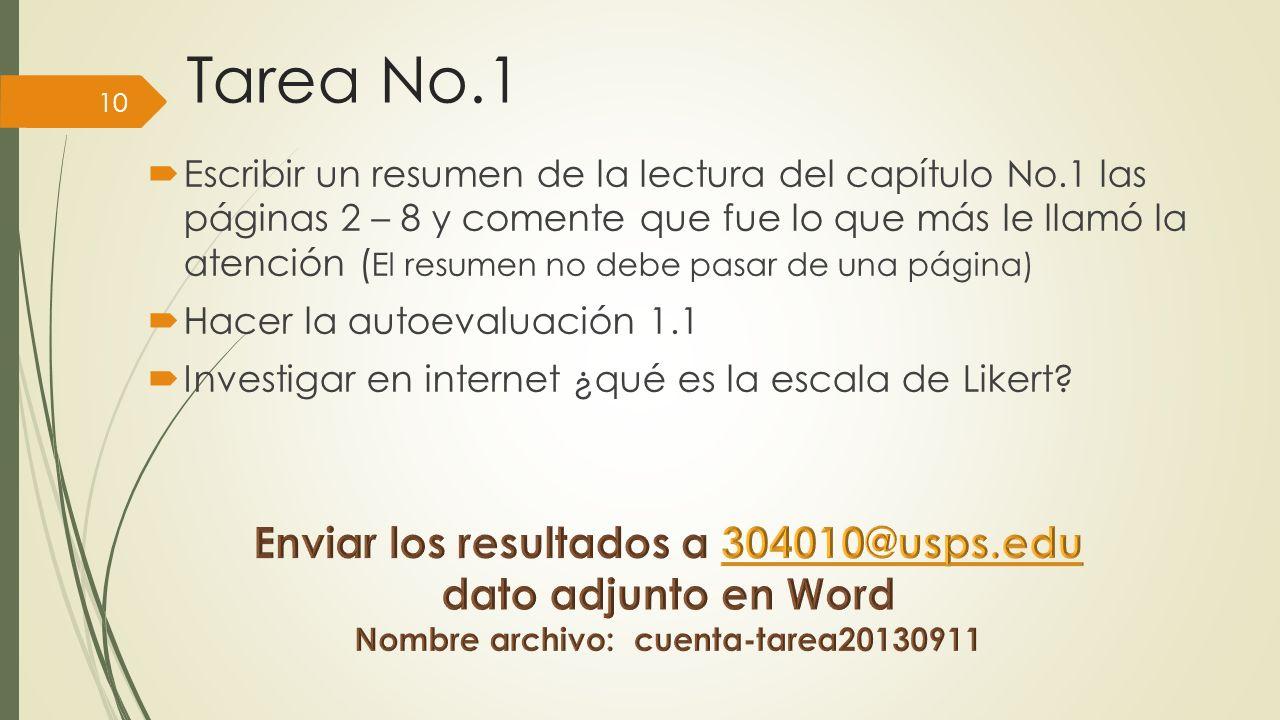 Tarea No.1 Enviar los resultados a 304010@usps.edu