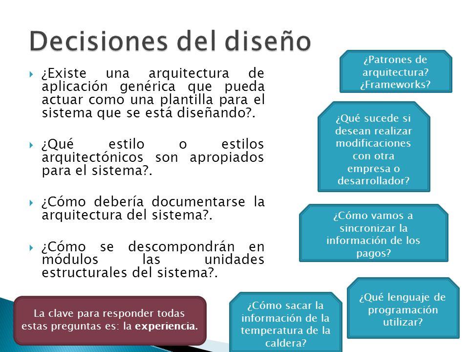 Decisiones del diseño ¿Patrones de arquitectura ¿Frameworks