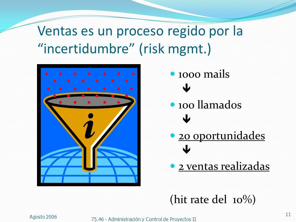 Ventas es un proceso regido por la incertidumbre (risk mgmt.)