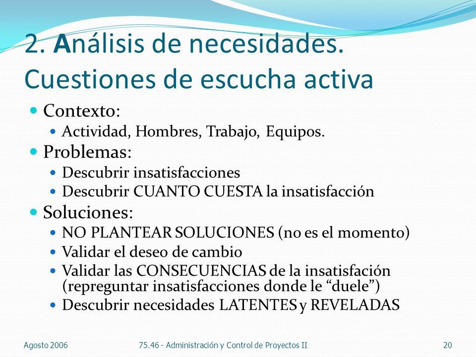 2. Análisis de necesidades. Cuestiones de escucha activa