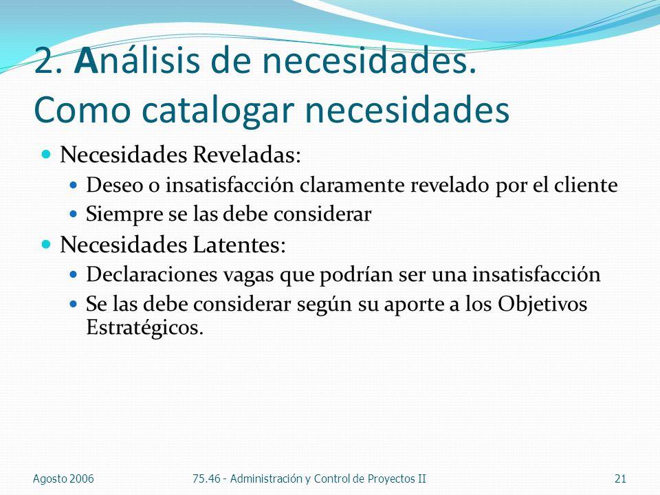 2. Análisis de necesidades. Como catalogar necesidades