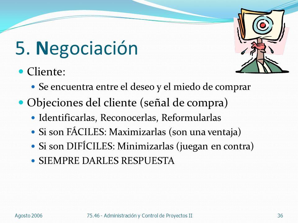 5. Negociación Cliente: Objeciones del cliente (señal de compra)