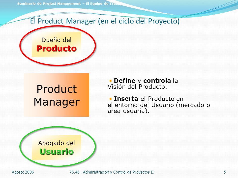 El Product Manager (en el ciclo del Proyecto)