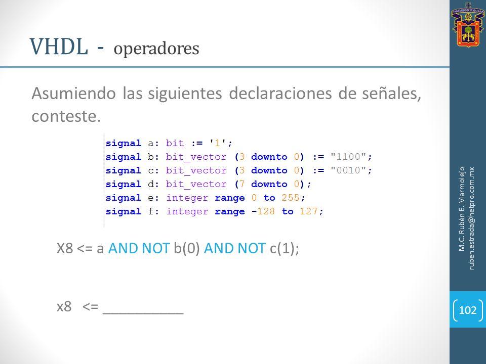 VHDL - operadores Asumiendo las siguientes declaraciones de señales, conteste. M.C. Rubén E. Marmolejo ruben.estrada@hetpro.com.mx.