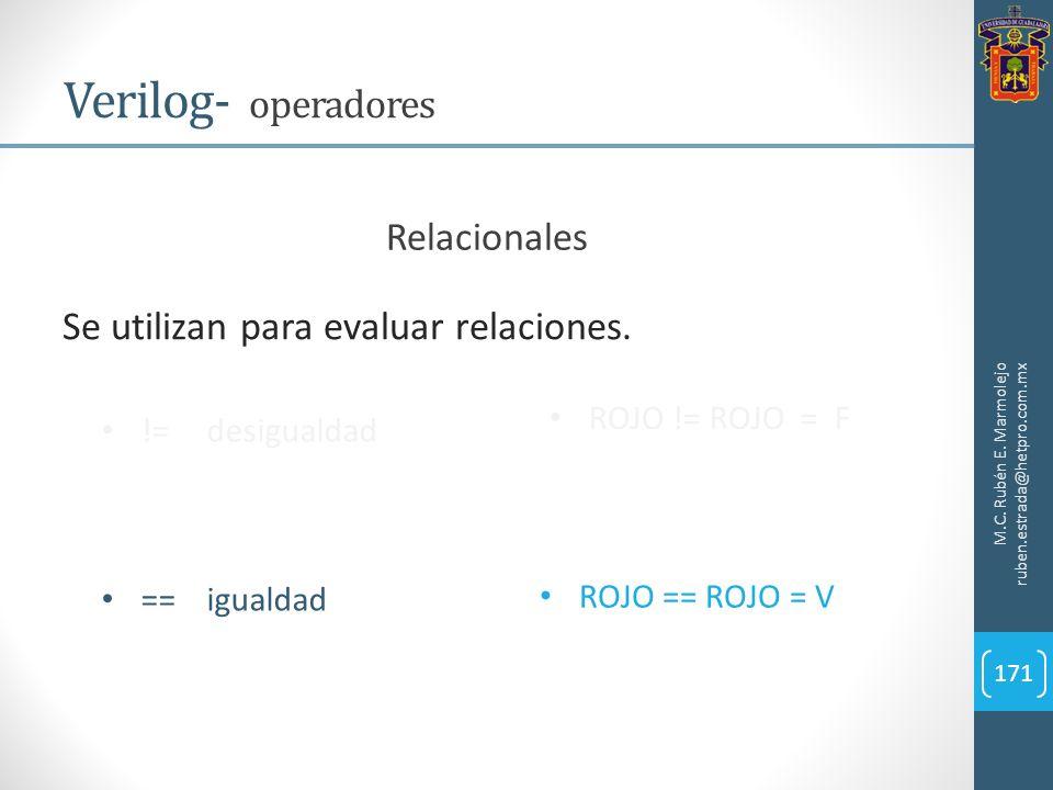 Verilog- operadores Relacionales Se utilizan para evaluar relaciones.