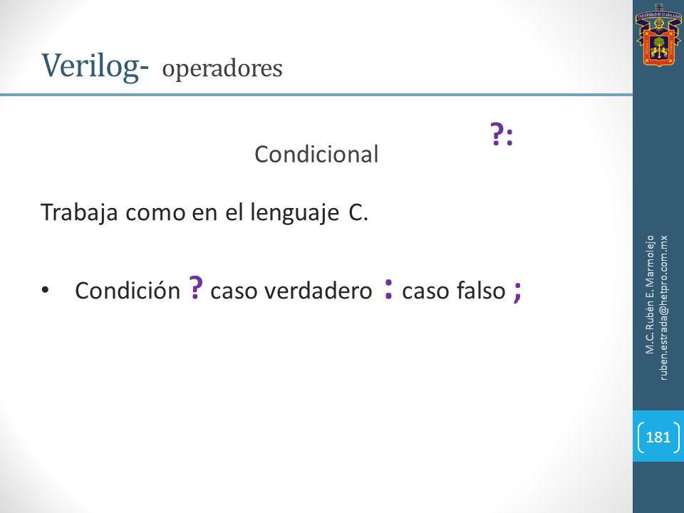 Verilog- operadores : Condicional Trabaja como en el lenguaje C.