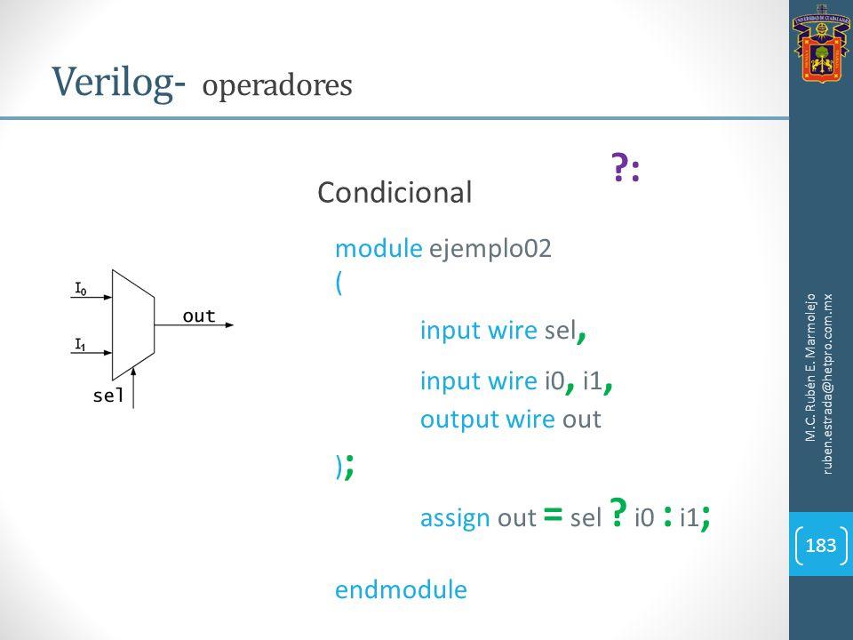 Verilog- operadores : Condicional module ejemplo02 ( input wire sel,