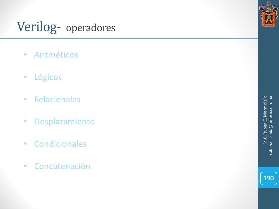 Verilog- operadores Aritméticos Lógicos Relacionales Desplazamiento