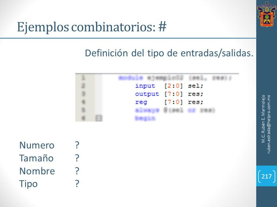 Ejemplos combinatorios: #