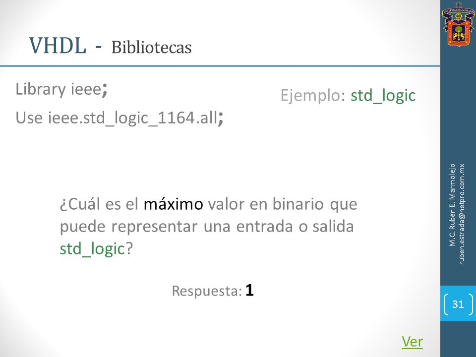 VHDL - Bibliotecas Library ieee; Ejemplo: std_logic