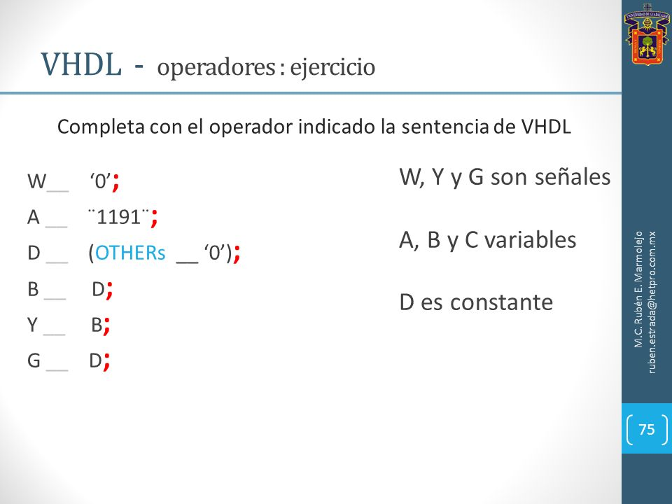 VHDL - operadores : ejercicio