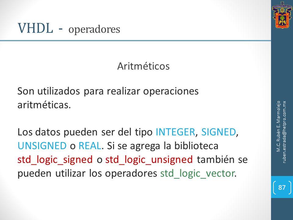 VHDL - operadores Aritméticos