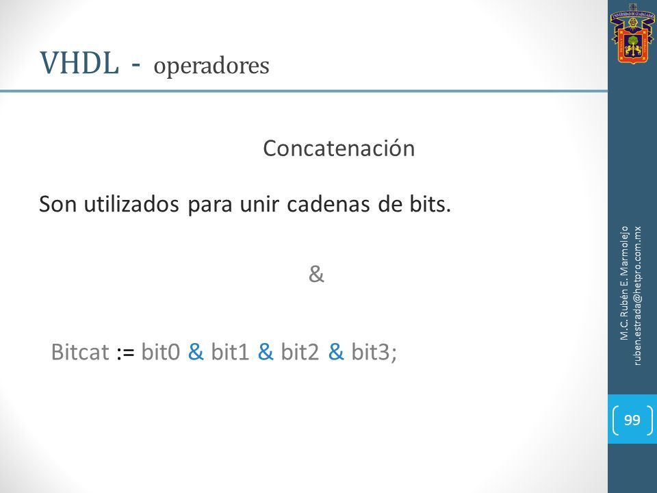 VHDL - operadores Concatenación