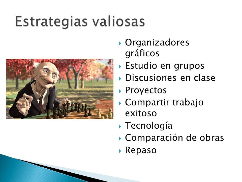 Estrategias valiosas Organizadores gráficos Estudio en grupos