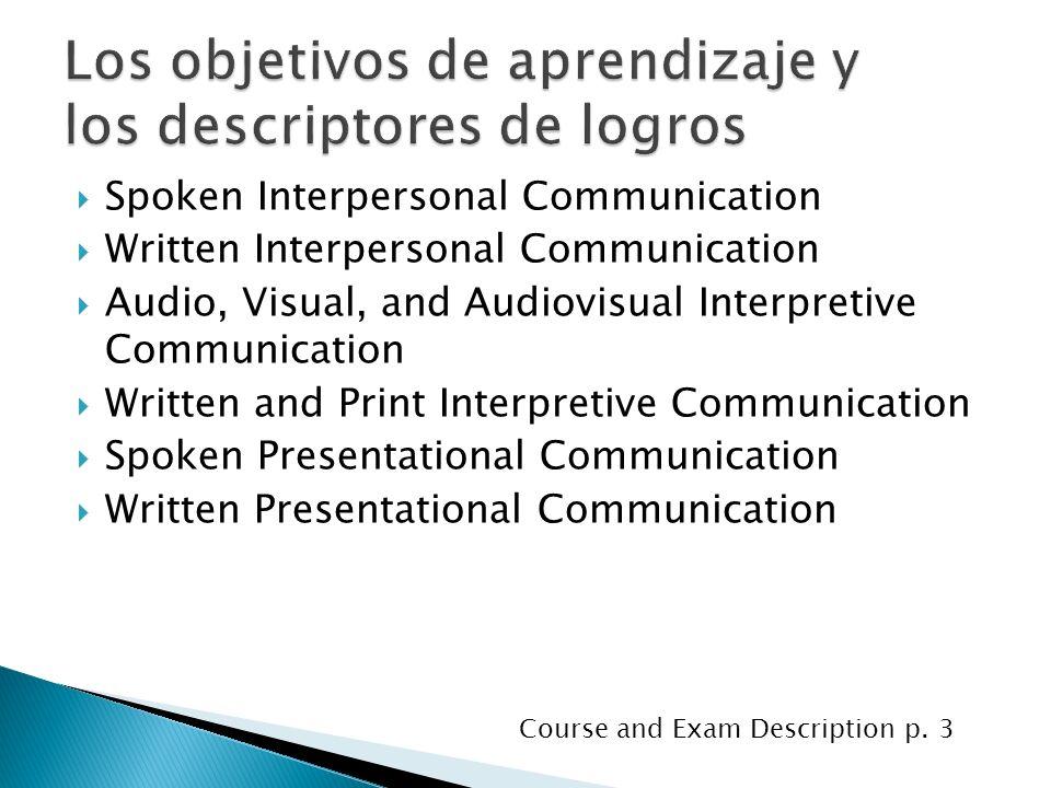 Los objetivos de aprendizaje y los descriptores de logros