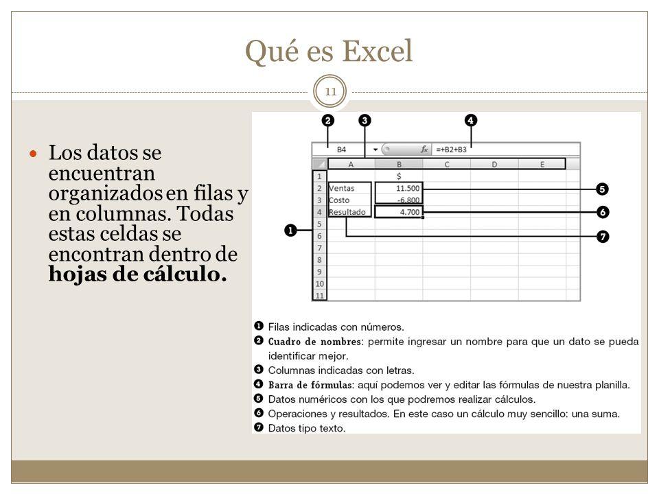 Qué es Excel Los datos se encuentran organizados en filas y en columnas.
