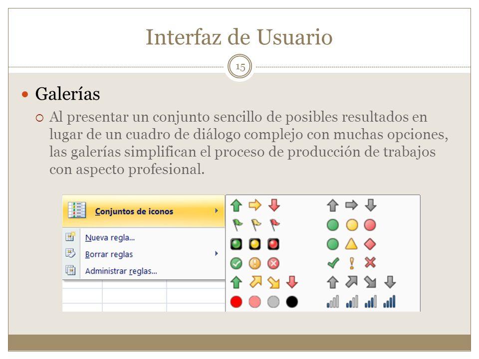 Interfaz de Usuario Galerías