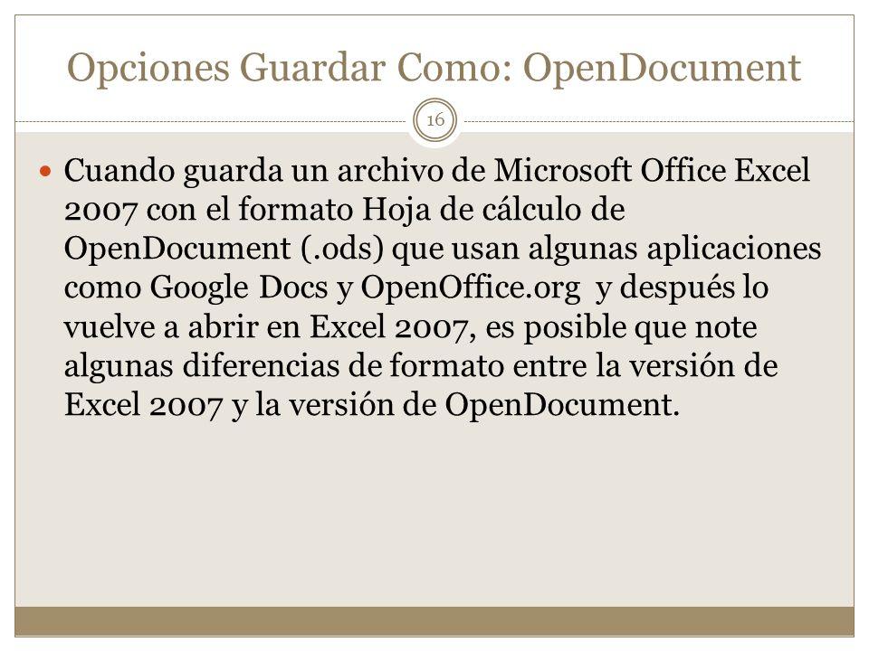 Opciones Guardar Como: OpenDocument
