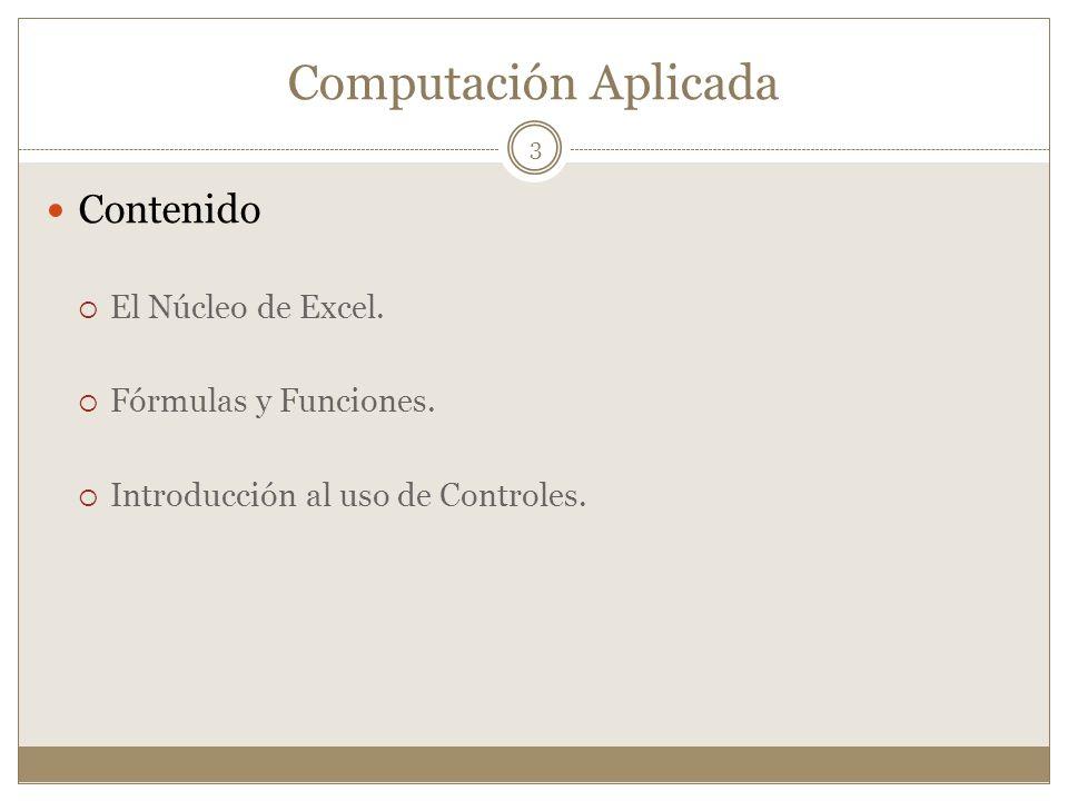 Computación Aplicada Contenido El Núcleo de Excel.
