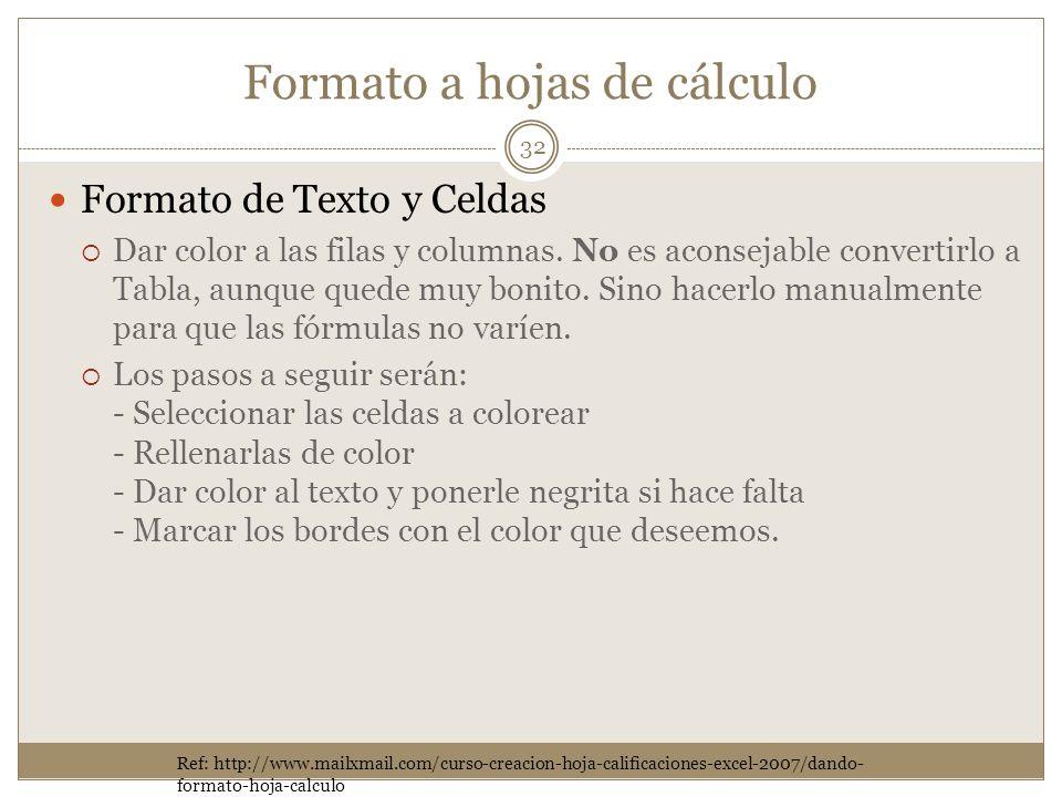 Formato a hojas de cálculo