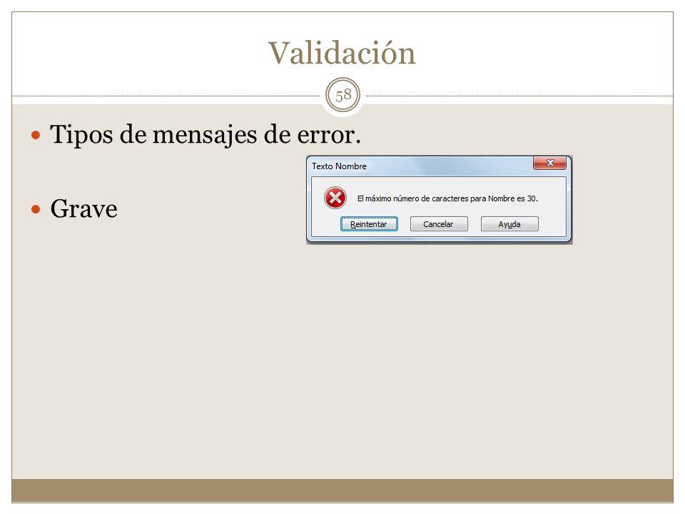 Validación Tipos de mensajes de error. Grave