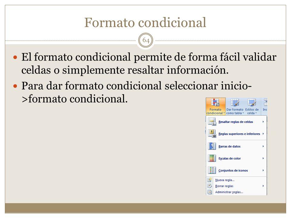 Formato condicional El formato condicional permite de forma fácil validar celdas o simplemente resaltar información.