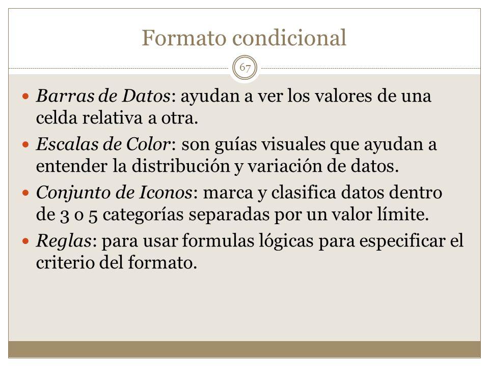 Formato condicional Barras de Datos: ayudan a ver los valores de una celda relativa a otra.