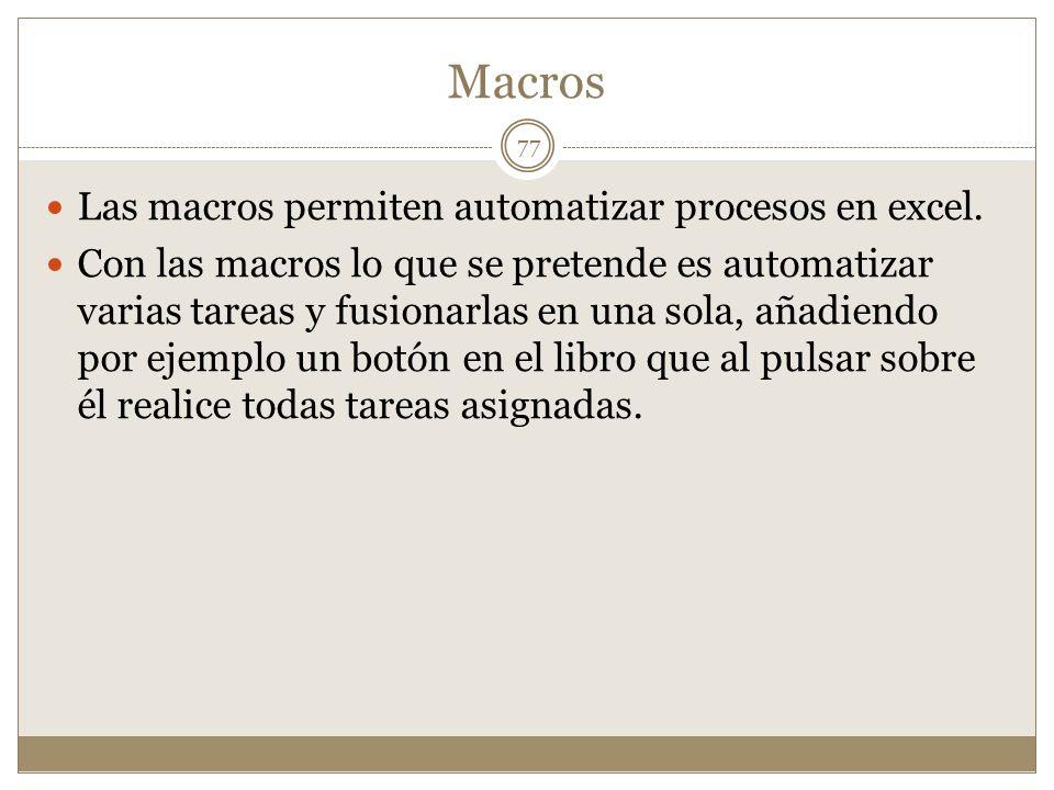 Macros Las macros permiten automatizar procesos en excel.